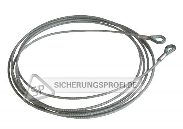 Drahtseil 4 mm mit PVC-Ummantelung 6 mm, mit Kauschen