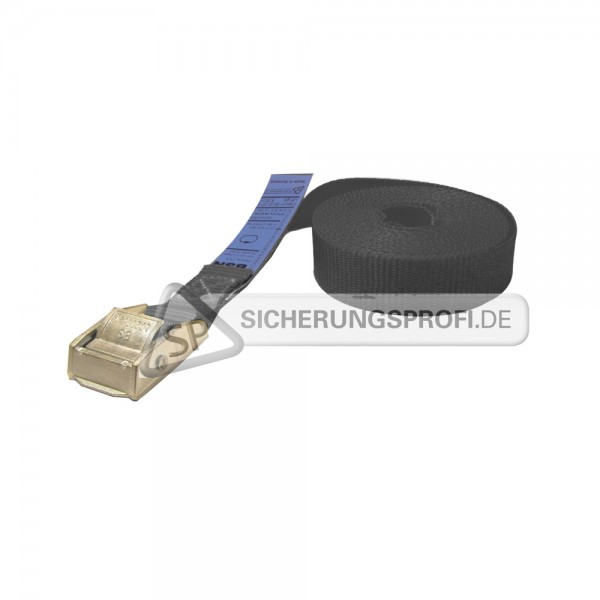 Spannband / Klemmschlossgurt, schwarz, mit Metall-Klemmschloss
