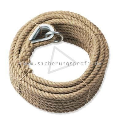 Handaufzugseil Hanf 16 mm Ø, mit Kausche + Ring