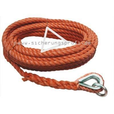 Handaufzugseil PP, 20 mm Ø, mit Kausche + Ring, orange